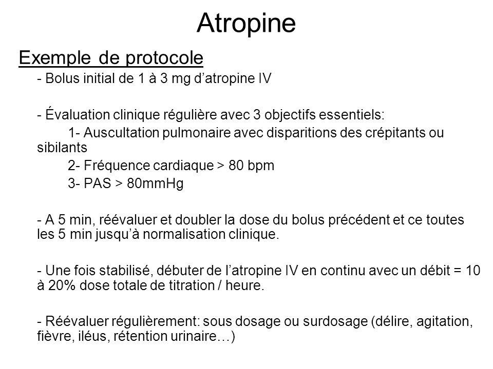 Atropine Exemple de protocole