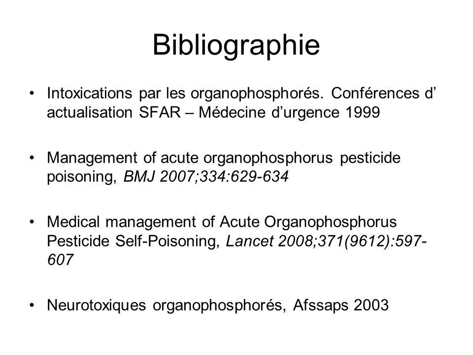 Bibliographie Intoxications par les organophosphorés. Conférences d' actualisation SFAR – Médecine d'urgence 1999.