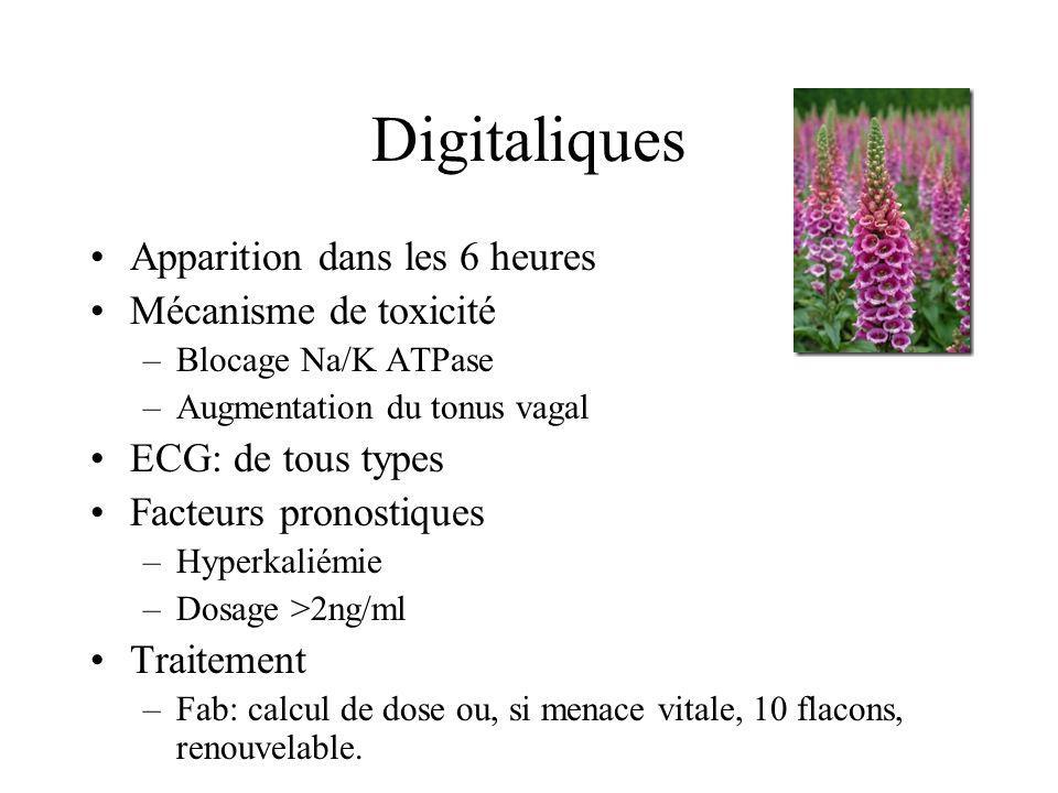 Digitaliques Apparition dans les 6 heures Mécanisme de toxicité