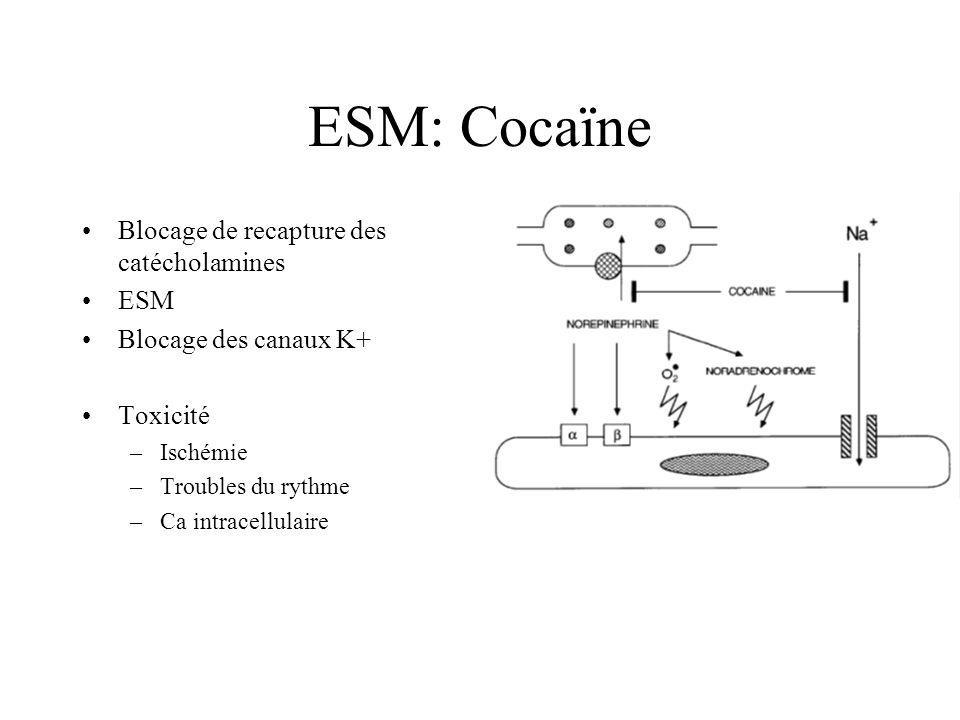 ESM: Cocaïne Blocage de recapture des catécholamines ESM