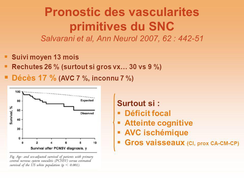 Pronostic des vascularites primitives du SNC Salvarani et al, Ann Neurol 2007, 62 : 442-51
