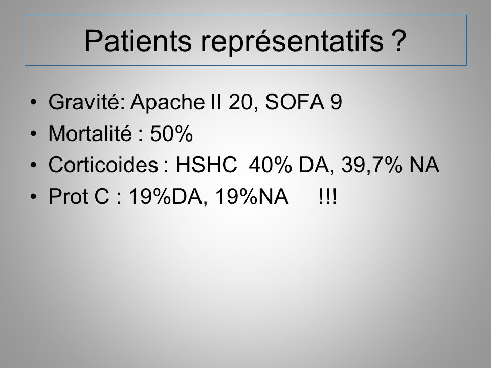 Patients représentatifs