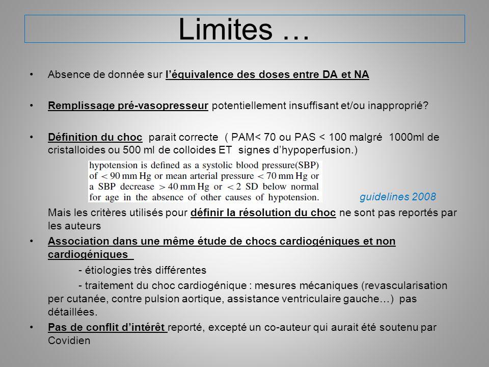 Limites … Absence de donnée sur l'équivalence des doses entre DA et NA