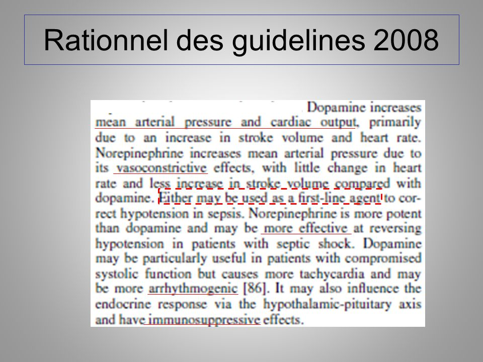 Rationnel des guidelines 2008