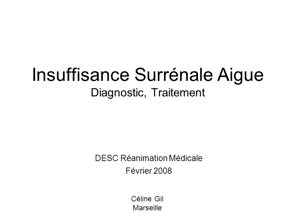 Insuffisance Surrénale Aigue Diagnostic, Traitement