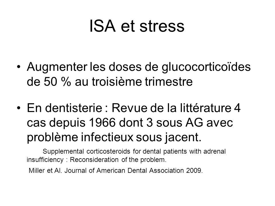 ISA et stress Augmenter les doses de glucocorticoïdes de 50 % au troisième trimestre.