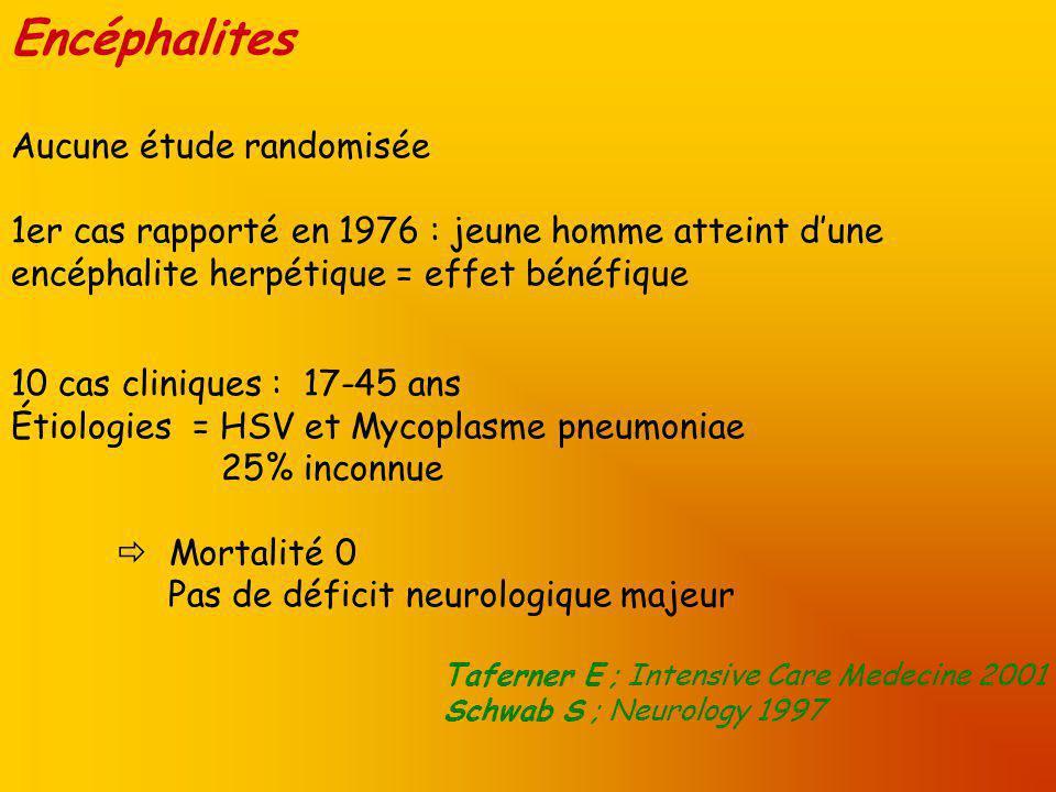 Encéphalites Aucune étude randomisée