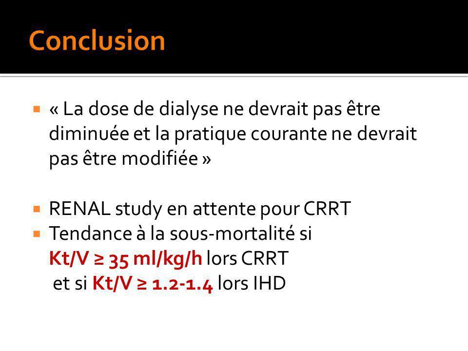 Conclusion « La dose de dialyse ne devrait pas être diminuée et la pratique courante ne devrait pas être modifiée »
