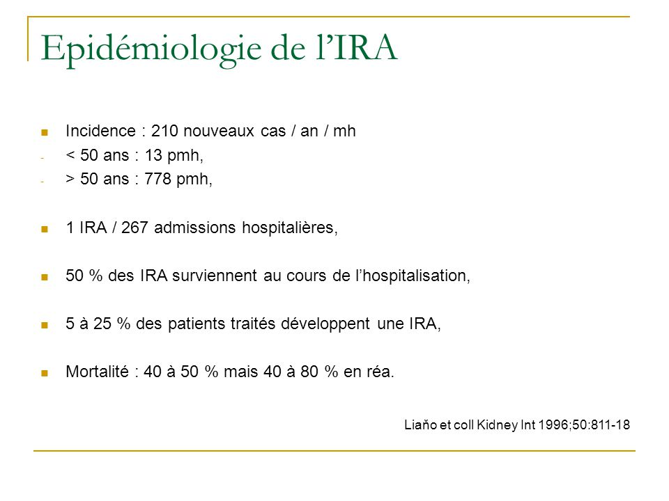Epidémiologie de l'IRA