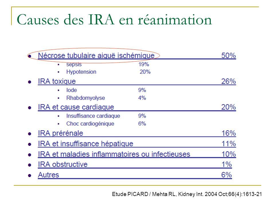 Causes des IRA en réanimation