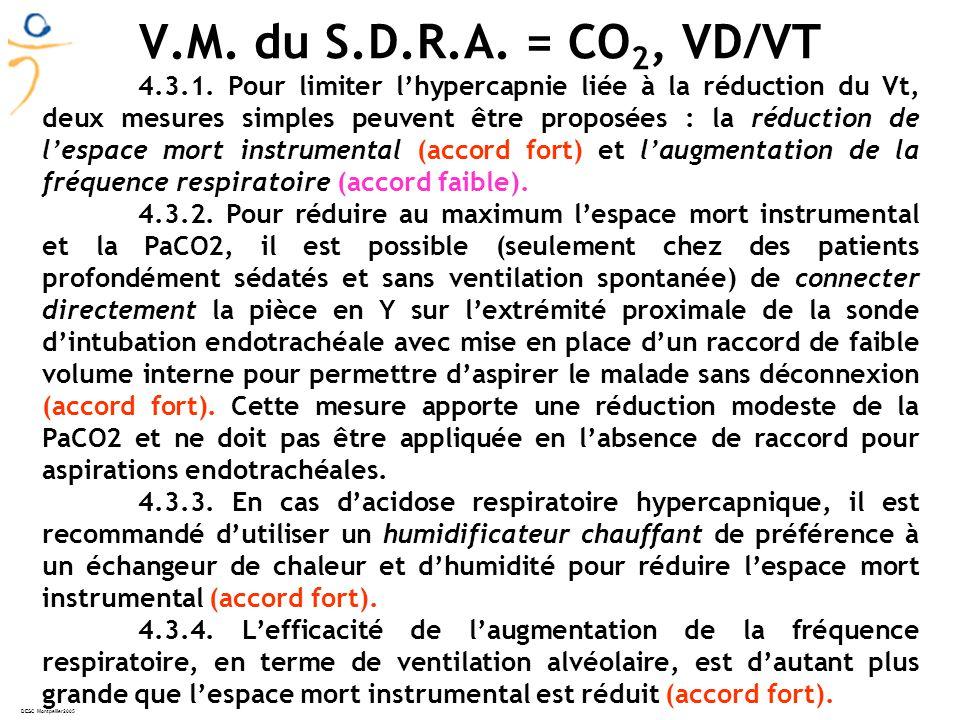 V.M. du S.D.R.A. = CO2, VD/VT