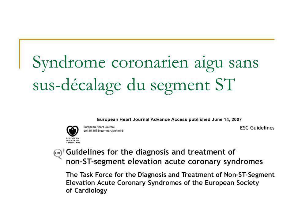 Syndrome coronarien aigu sans sus-décalage du segment ST