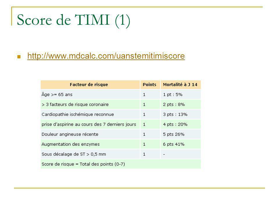 Score de TIMI (1) http://www.mdcalc.com/uanstemitimiscore