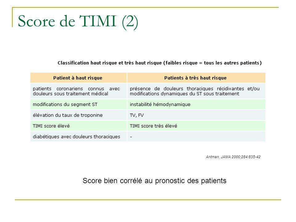 Score de TIMI (2) Score bien corrélé au pronostic des patients