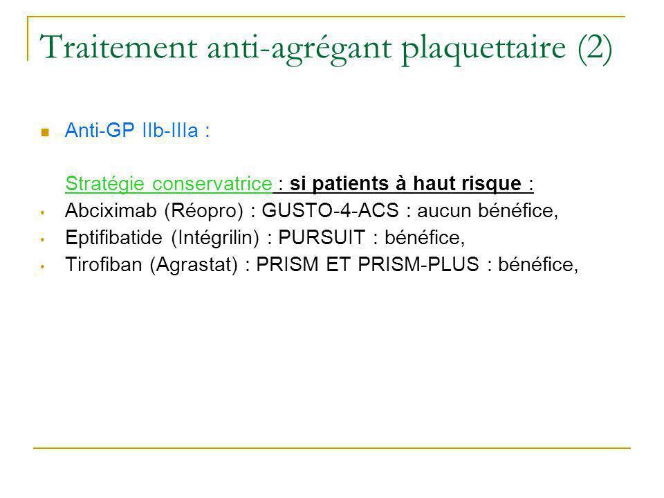 Traitement anti-agrégant plaquettaire (2)