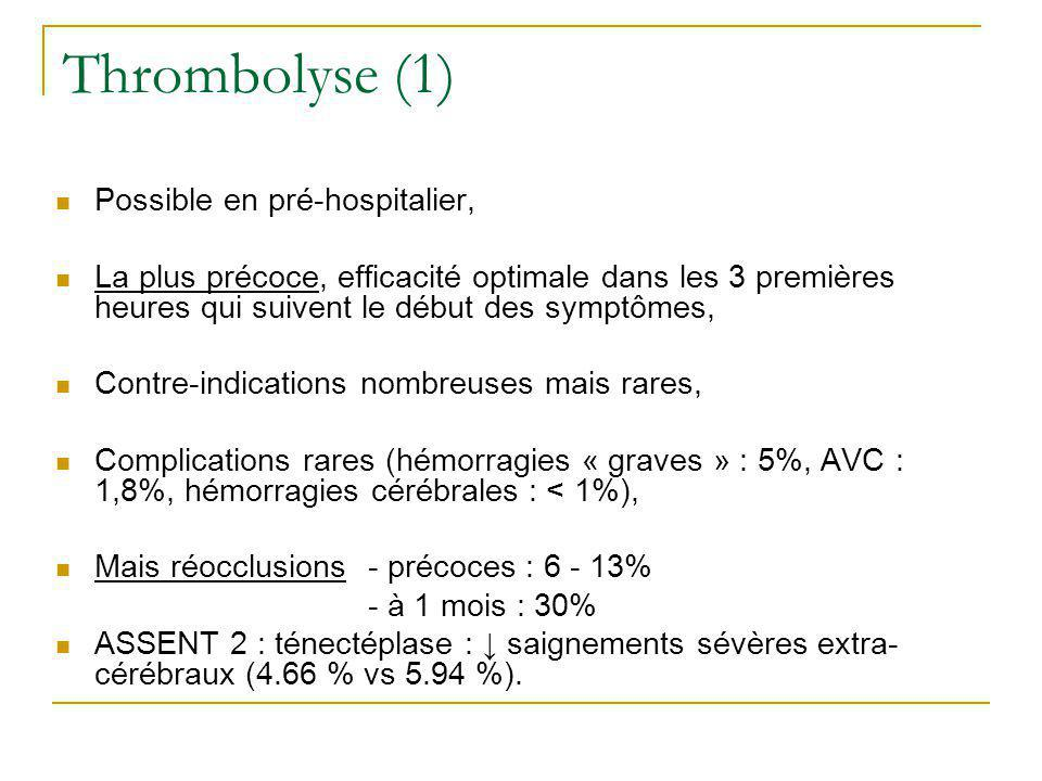 Thrombolyse (1) Possible en pré-hospitalier,