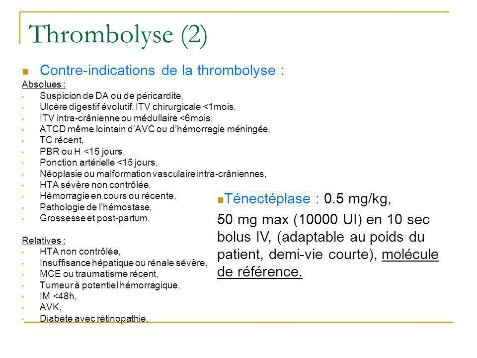 Thrombolyse (2) Contre-indications de la thrombolyse :
