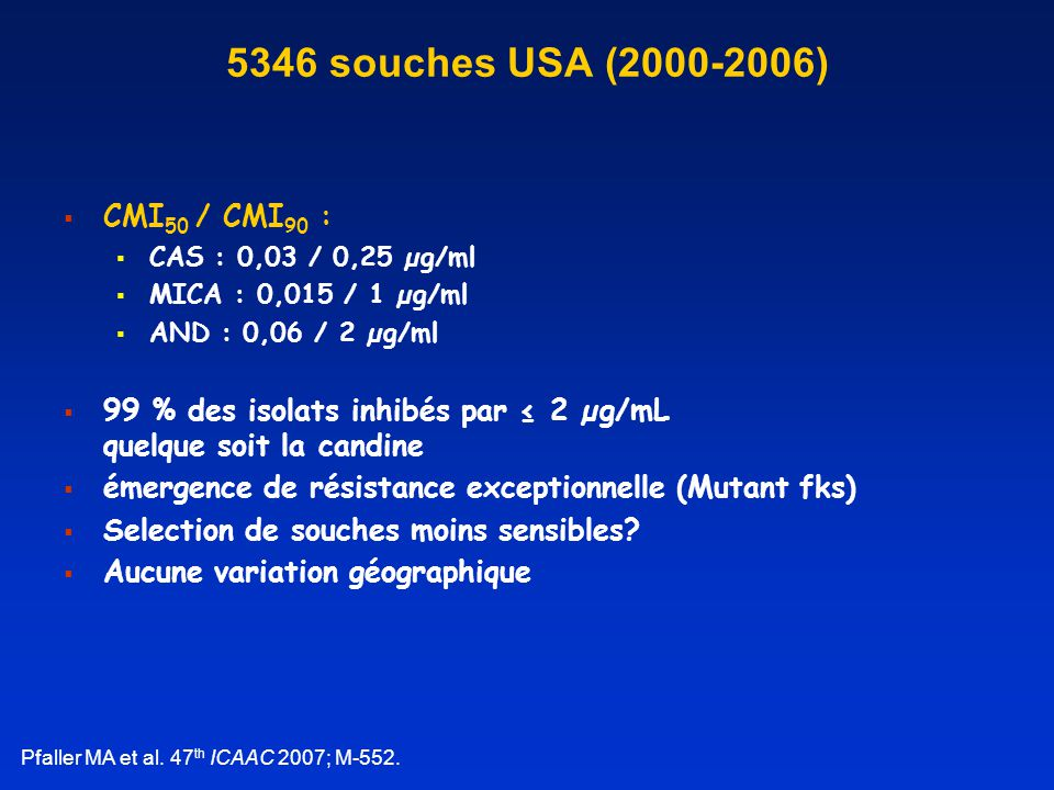5346 souches USA (2000-2006) CMI50 / CMI90 :