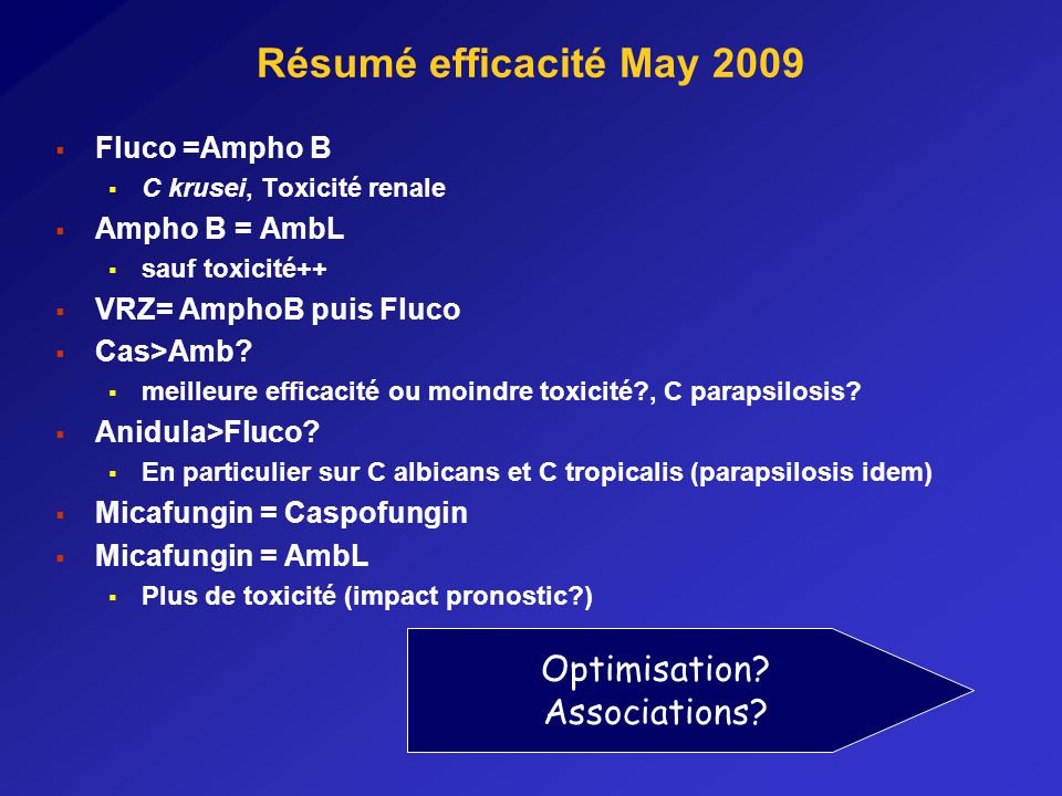 Résumé efficacité May 2009 Optimisation Associations Fluco =Ampho B
