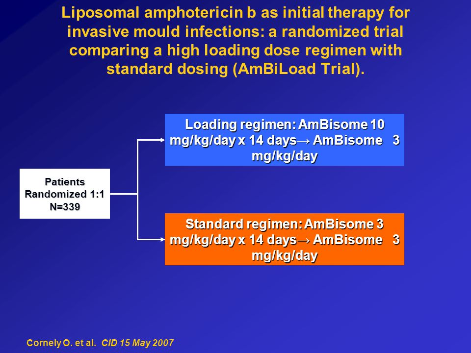 Liposomal amphotericin b as initial therapy for invasive mould infections: a randomized trial comparing a high loading dose regimen with standard dosing (AmBiLoad Trial).