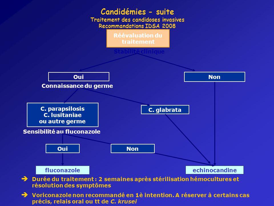 Candidémies - suite Traitement des candidoses invasives Recommandations IDSA 2008