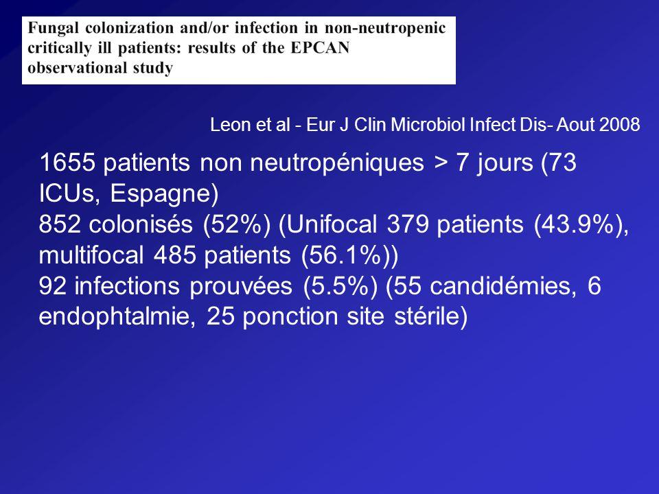 1655 patients non neutropéniques > 7 jours (73 ICUs, Espagne)