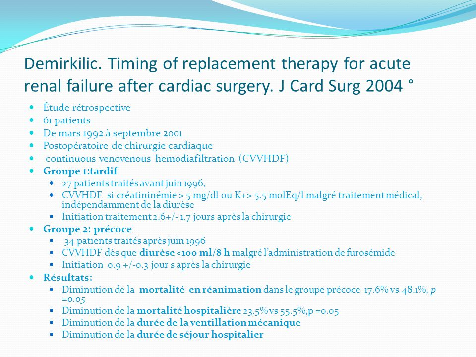 Demirkilic. Timing of replacement therapy for acute renal failure after cardiac surgery. J Card Surg 2004 °