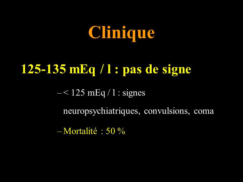 Clinique 125-135 mEq / l : pas de signe