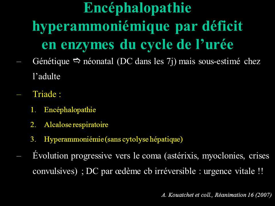 Encéphalopathie hyperammoniémique par déficit en enzymes du cycle de l'urée