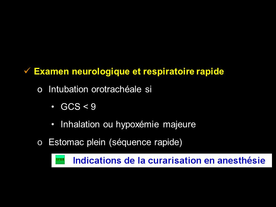 Examen neurologique et respiratoire rapide