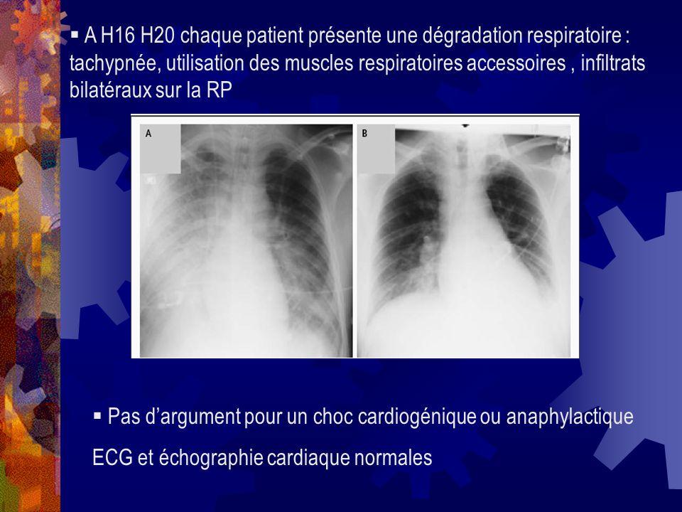 A H16 H20 chaque patient présente une dégradation respiratoire : tachypnée, utilisation des muscles respiratoires accessoires , infiltrats bilatéraux sur la RP