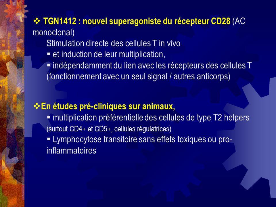 TGN1412 : nouvel superagoniste du récepteur CD28 (AC monoclonal)