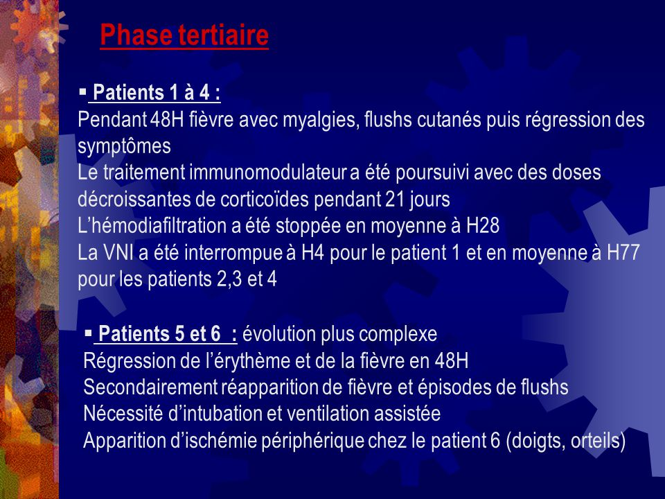 Phase tertiaire Patients 1 à 4 :
