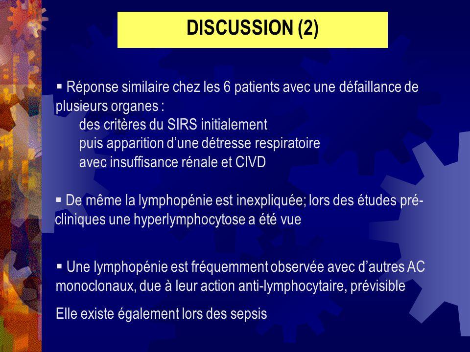 DISCUSSION (2) Réponse similaire chez les 6 patients avec une défaillance de plusieurs organes : des critères du SIRS initialement.