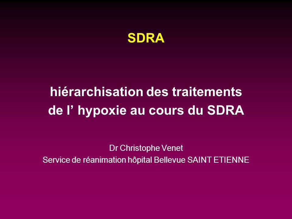 hiérarchisation des traitements de l' hypoxie au cours du SDRA