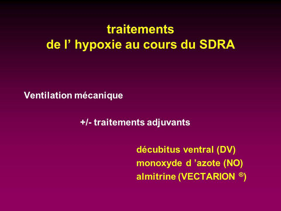 traitements de l' hypoxie au cours du SDRA