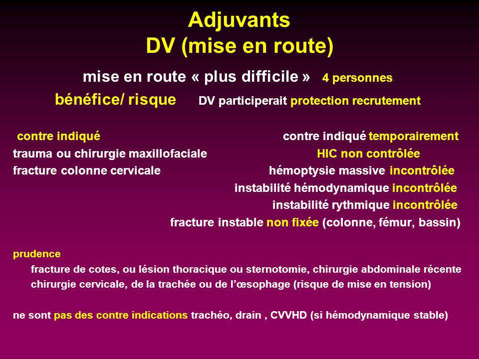 Adjuvants DV (mise en route)