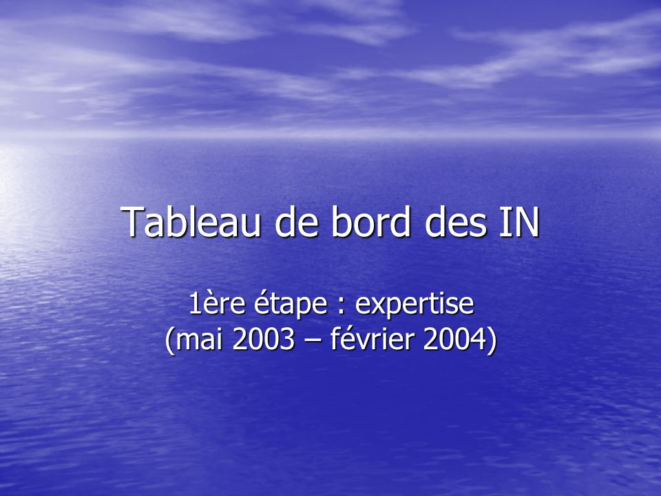 1ère étape : expertise (mai 2003 – février 2004)