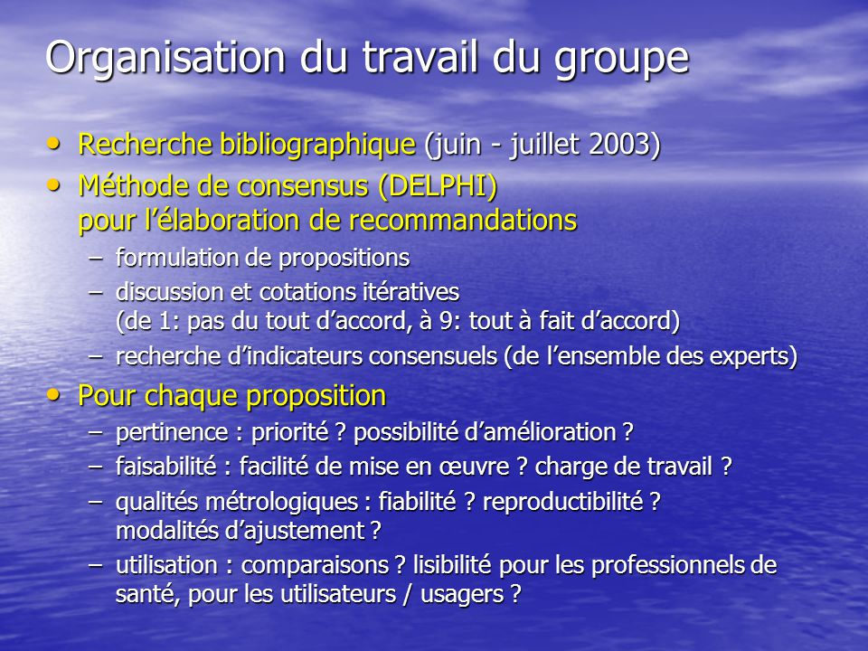 Organisation du travail du groupe