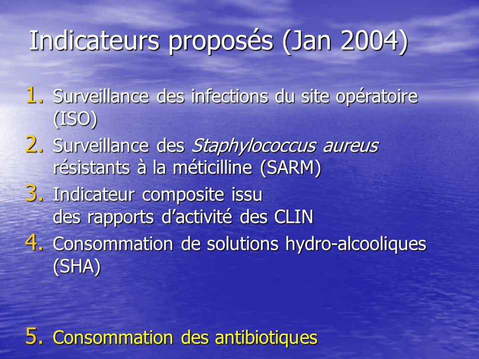 Indicateurs proposés (Jan 2004)