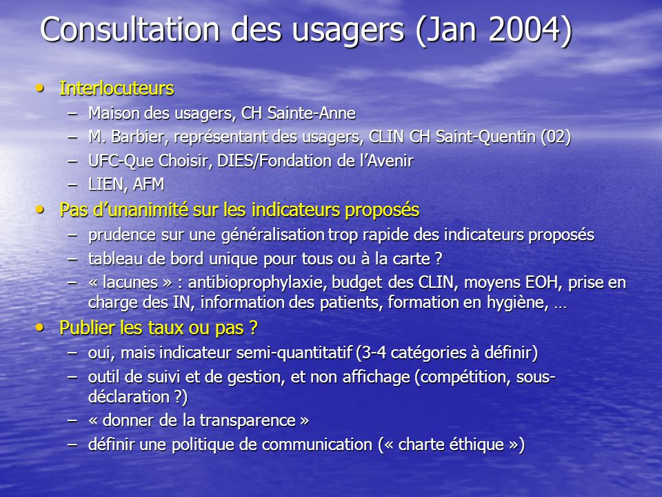 Consultation des usagers (Jan 2004)