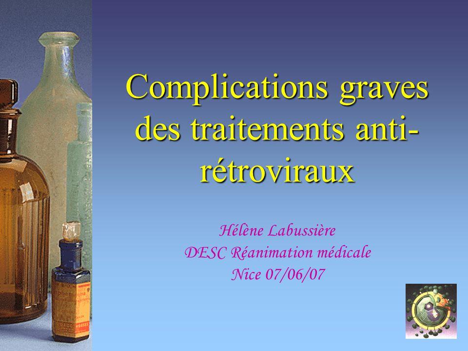 Complications graves des traitements anti-rétroviraux