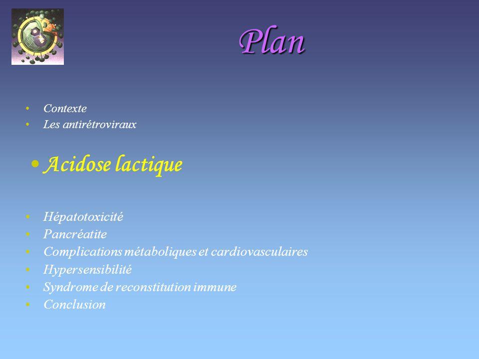 Plan Acidose lactique Hépatotoxicité Pancréatite