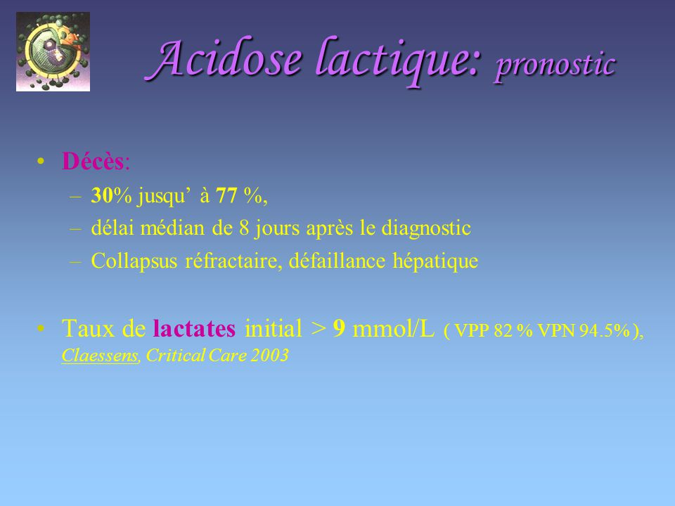 Acidose lactique: pronostic