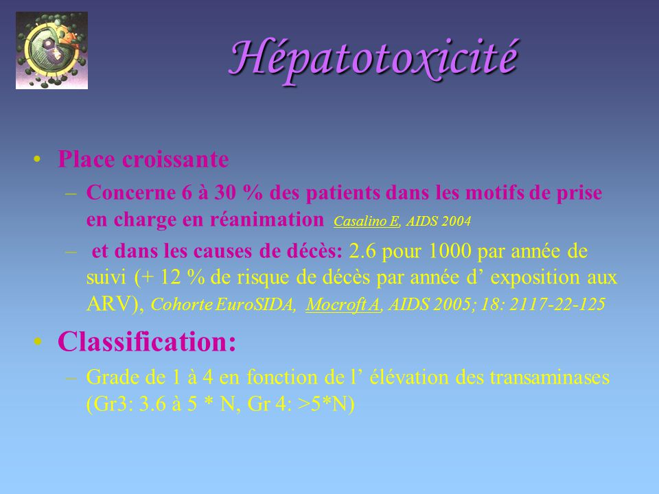Hépatotoxicité Classification: Place croissante