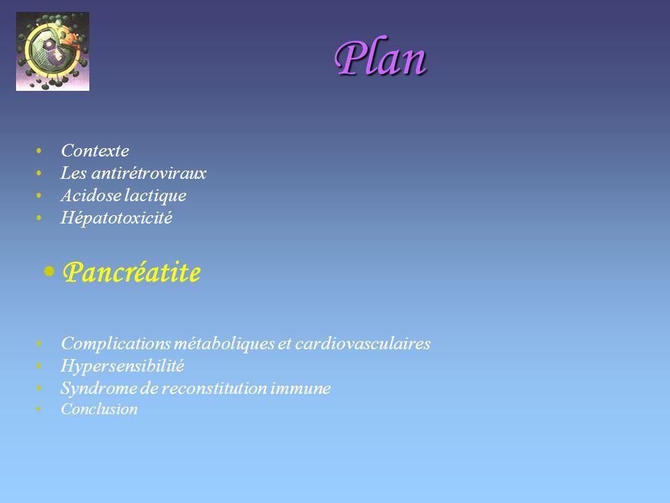 Plan Pancréatite Contexte Les antirétroviraux Acidose lactique
