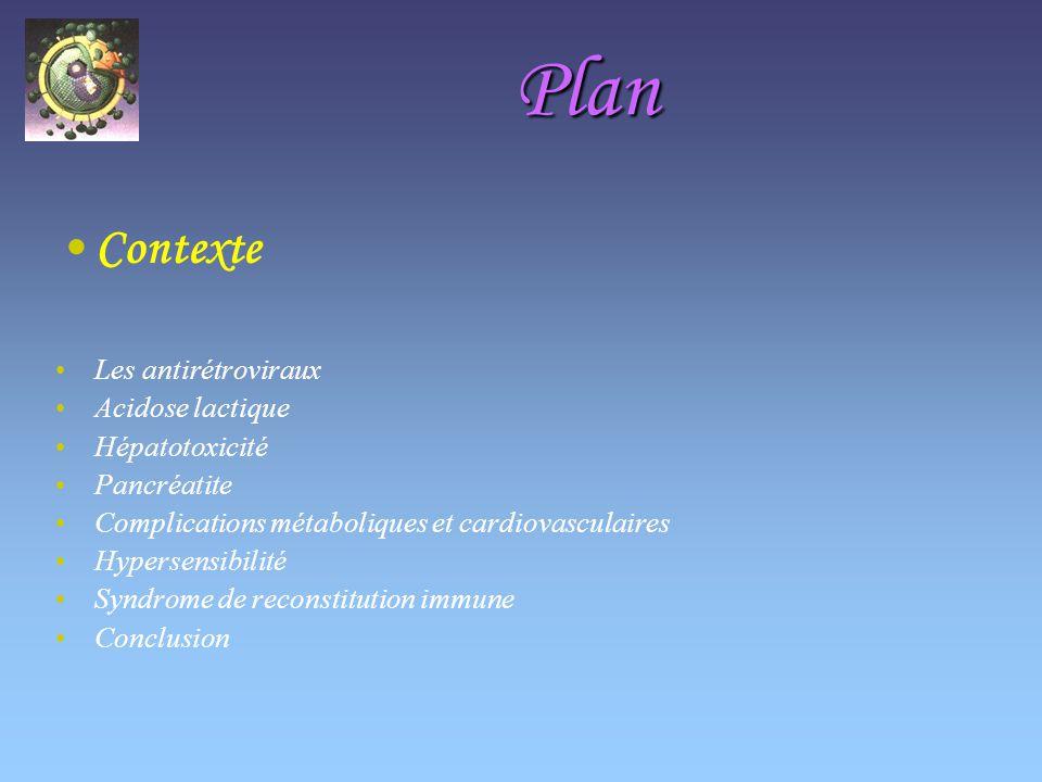 Plan Contexte Les antirétroviraux Acidose lactique Hépatotoxicité