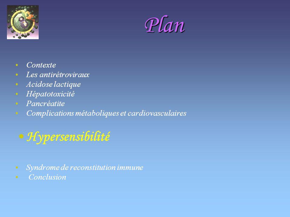 Plan Hypersensibilité Contexte Les antirétroviraux Acidose lactique
