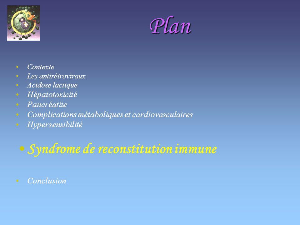 Plan Syndrome de reconstitution immune Hépatotoxicité Pancréatite