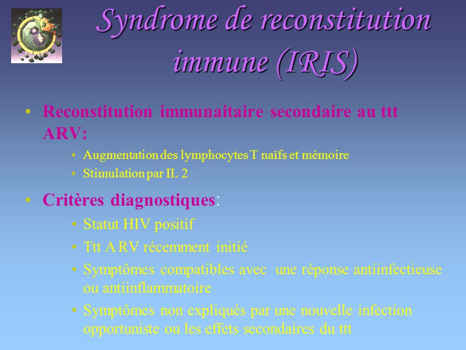 Syndrome de reconstitution immune (IRIS)